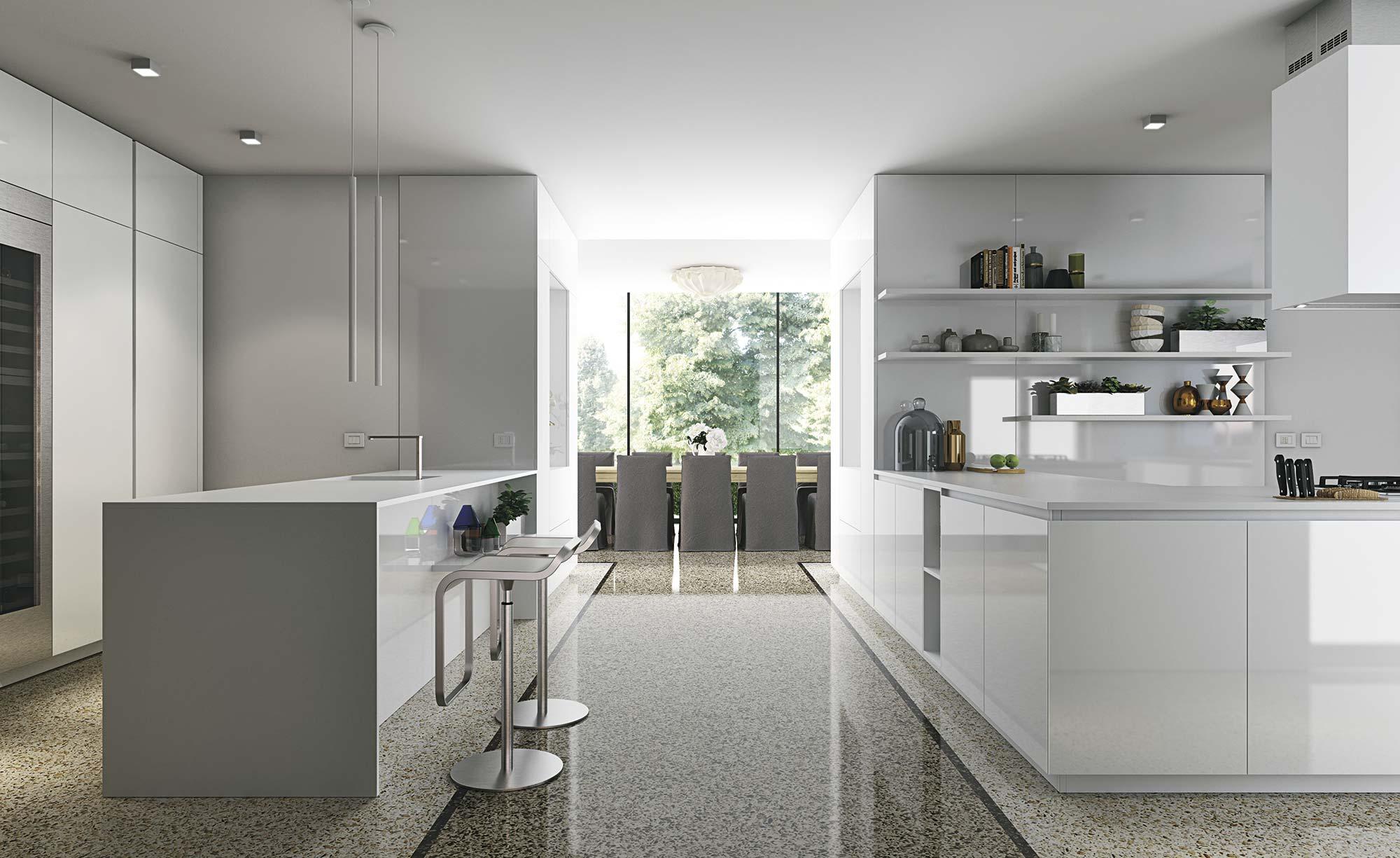 Lujosa cocina a medida en color blanco